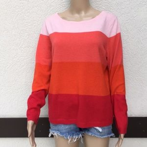 Lands End cashmere sweater large petite striped